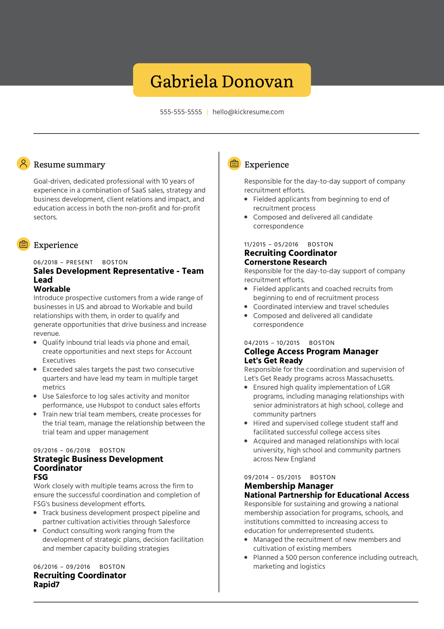 Business Development Representative Resume Example (Part 1)