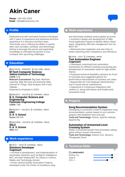 Intel Intern Resume Example