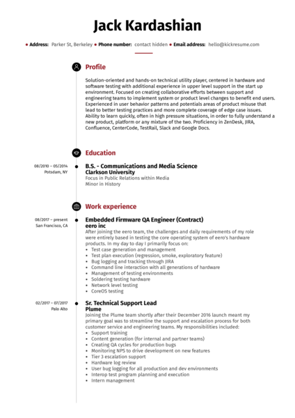 Technical lead resume example