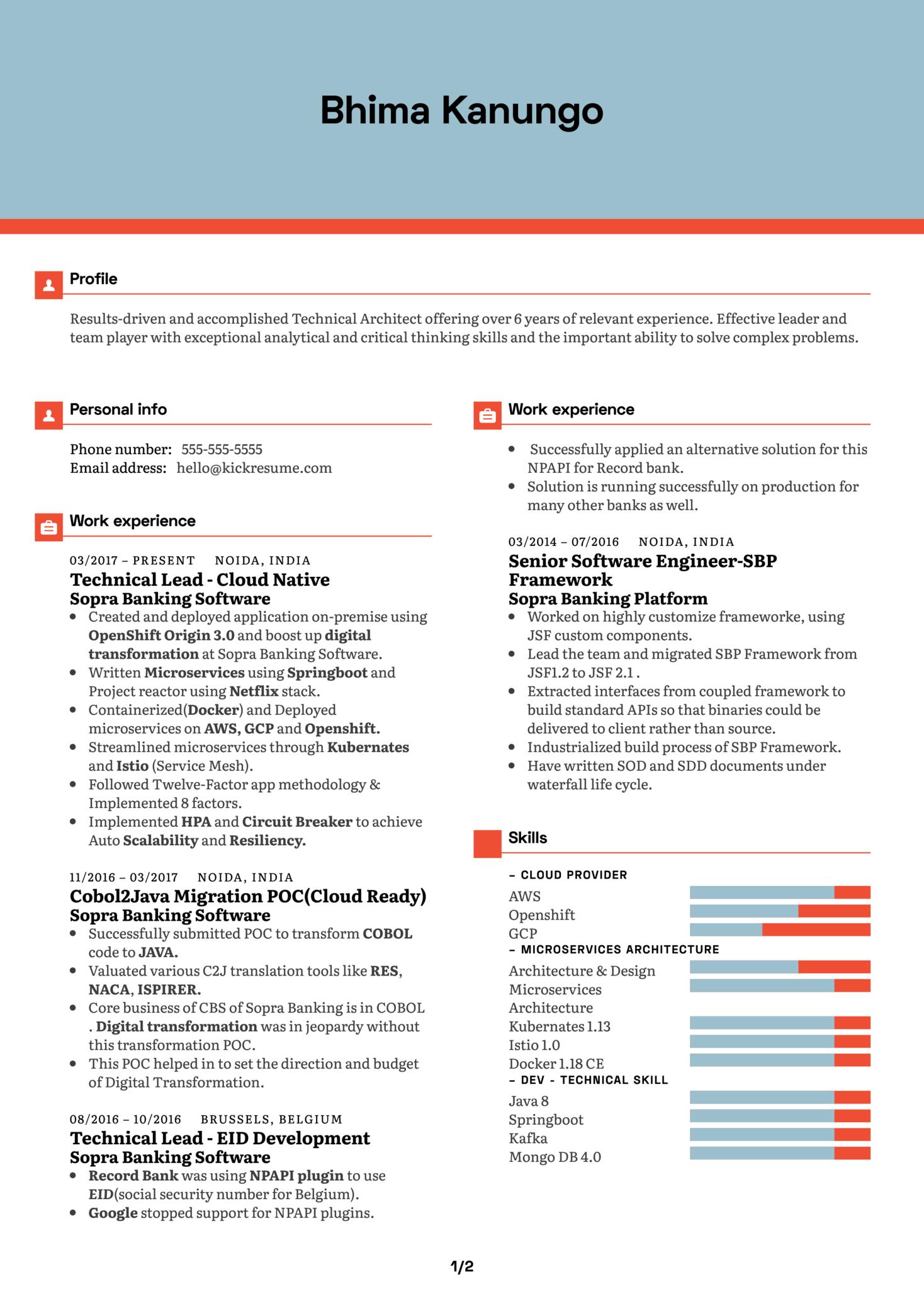 ImpetusTechnical Architect Resume Example