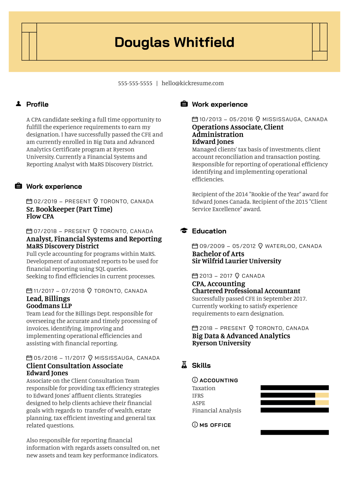 MaRS Discovery District Staff Accountant Resume Example