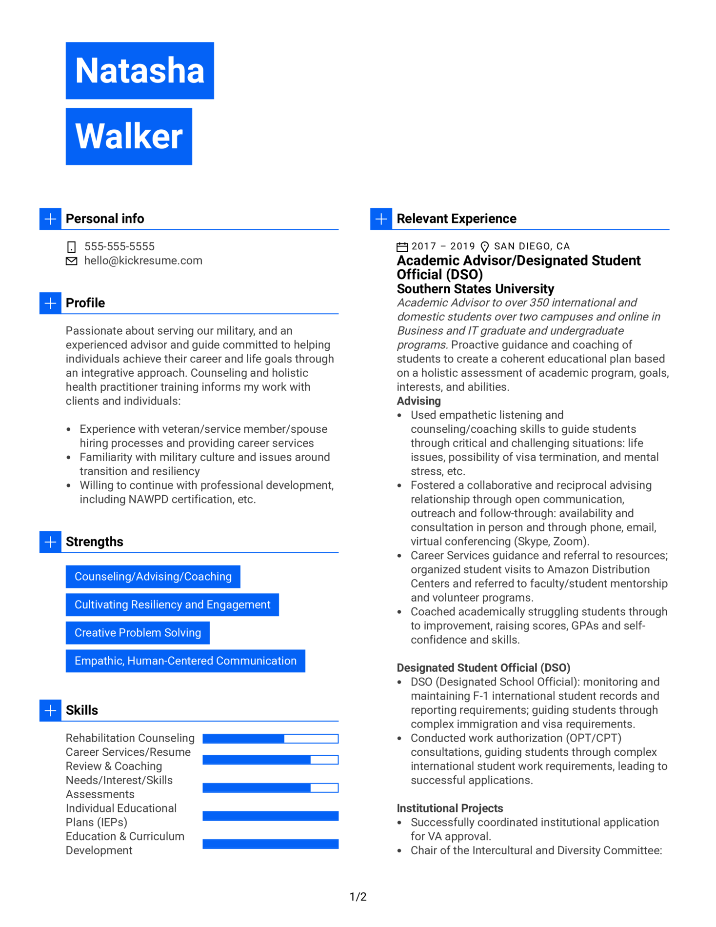 Career and Education Advisor Resume Example