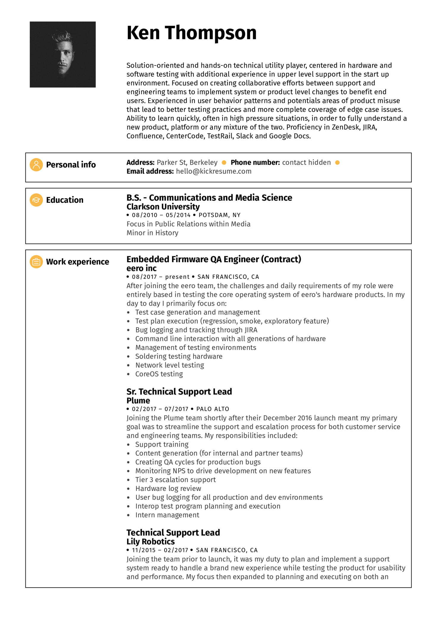 Resume Examples by Real People: QA engineer resume example | Kickresume