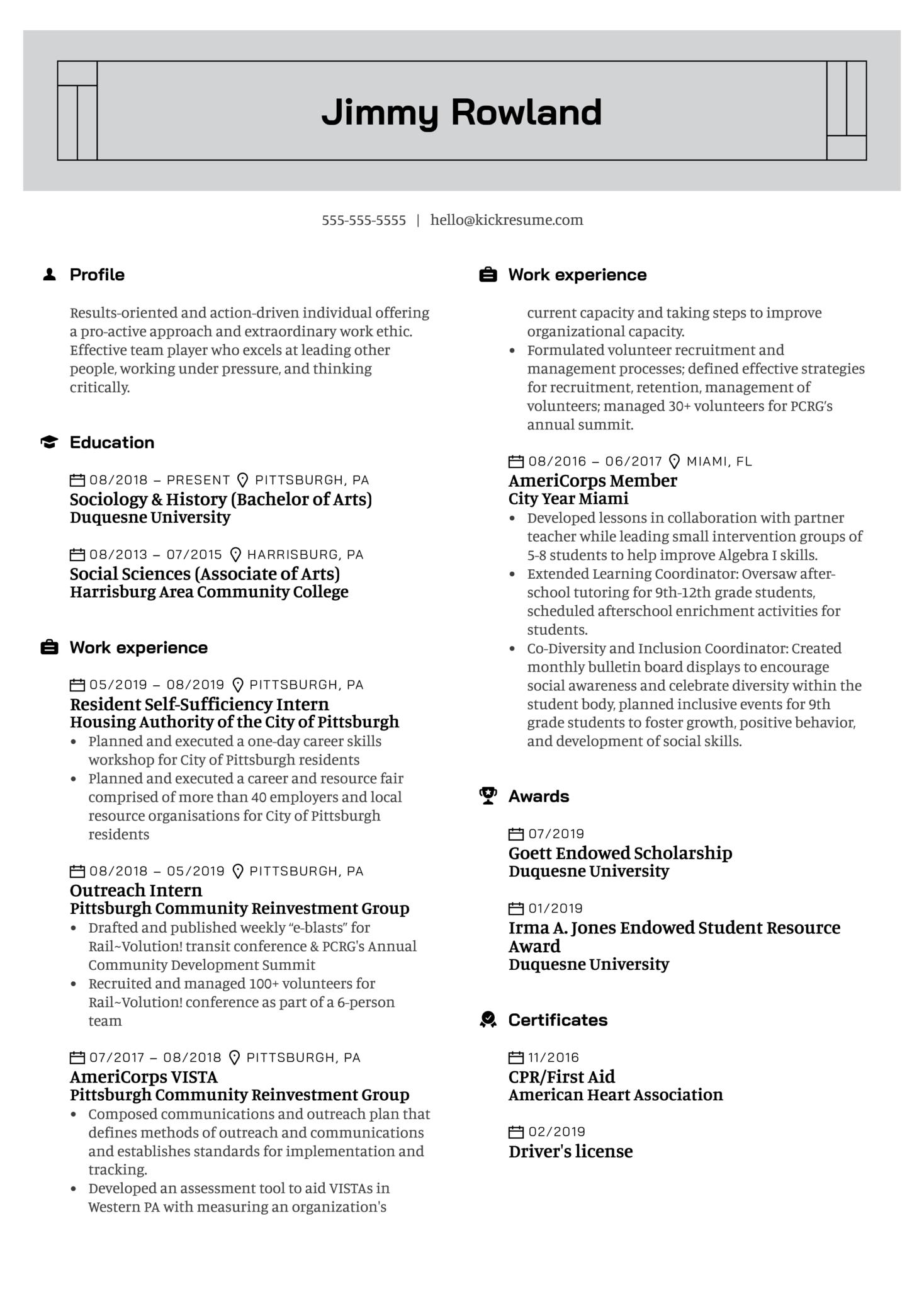 Communications Intern Resume Example