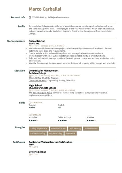 Subcontractor Resume Example