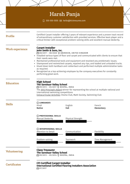 Carpet Installer Resume Example