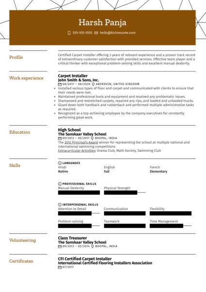 Carpet Installer Resume Example
