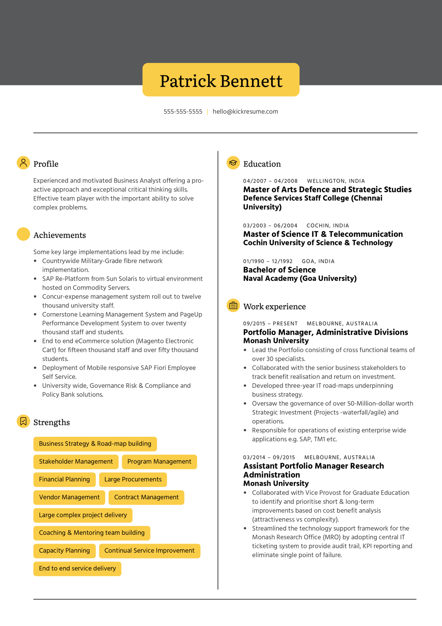 Henkel Business Analyst Resume Example