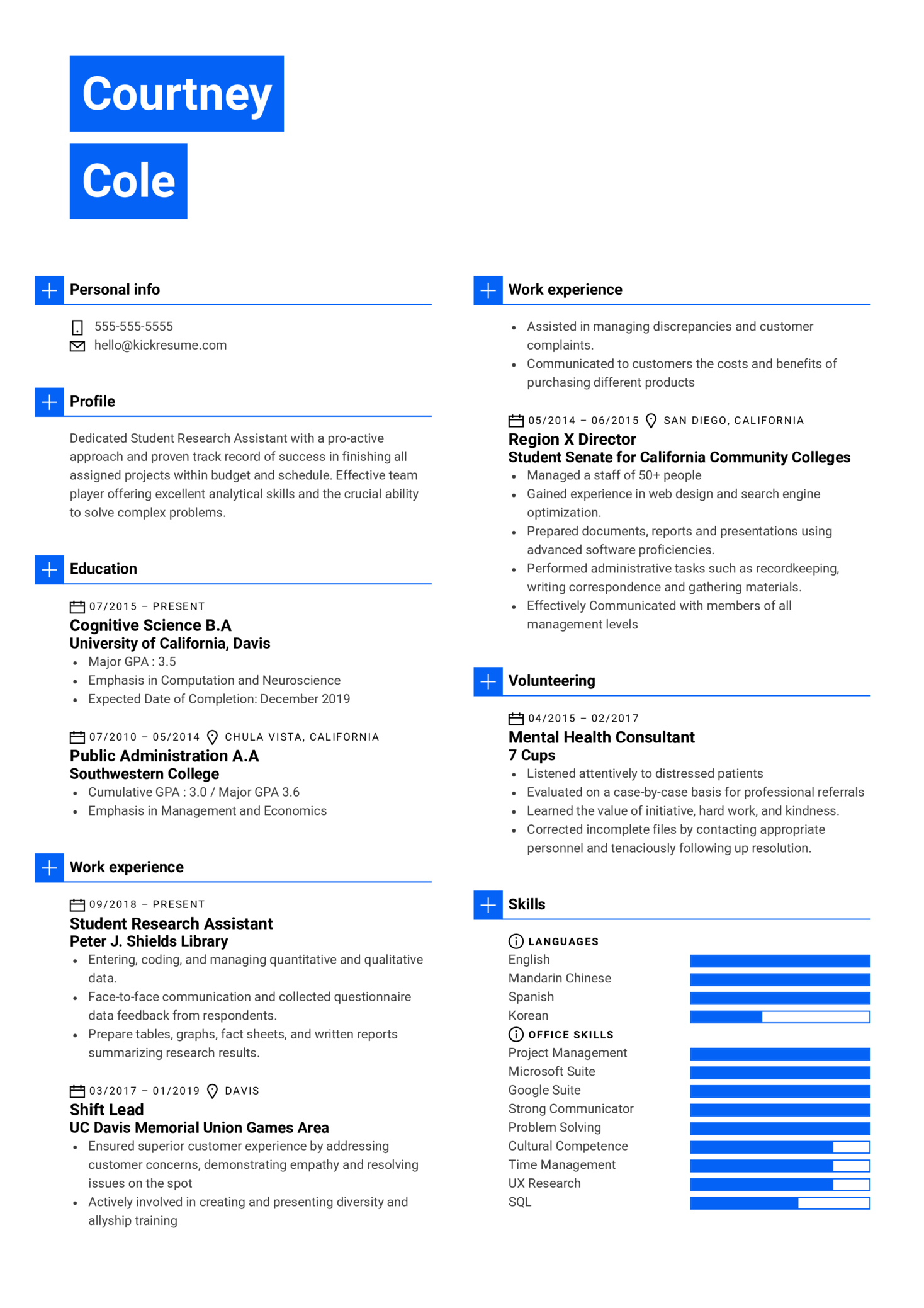 University of California, Davis Student Research Assistant Resume Example