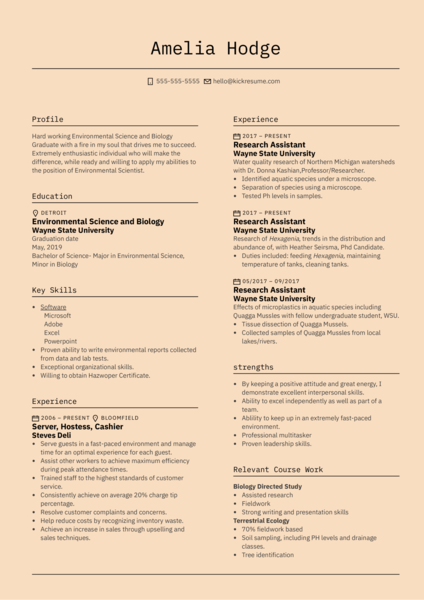 US Ecology Environmental Specialist Resume Example