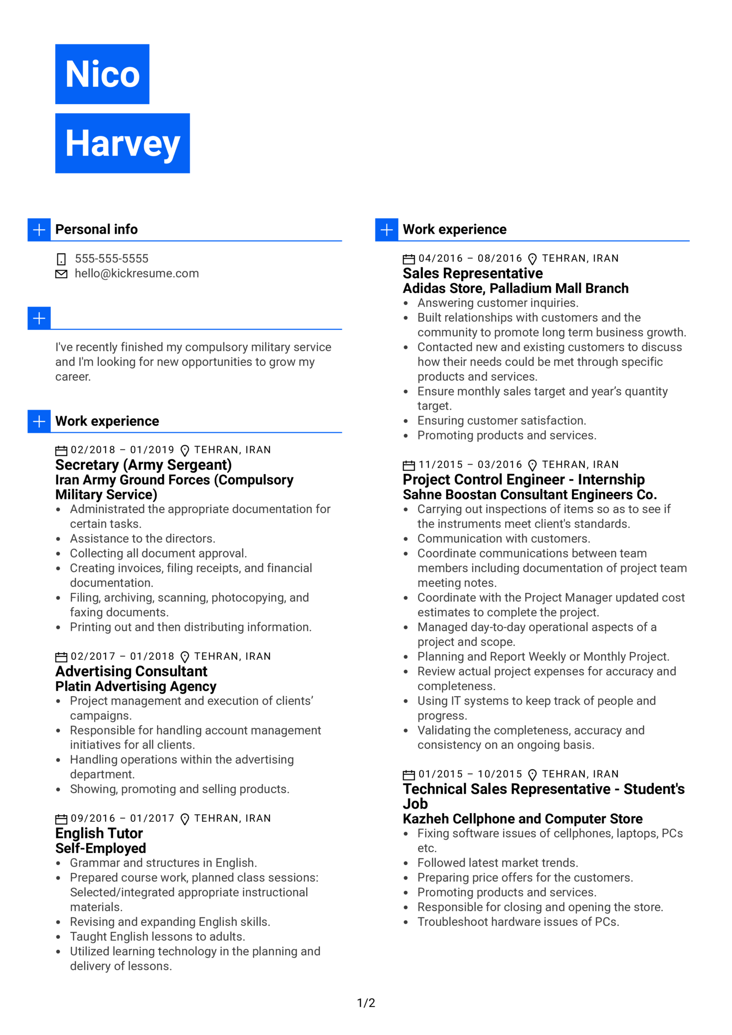 British American Tobacco Marketing Intern Resume Example