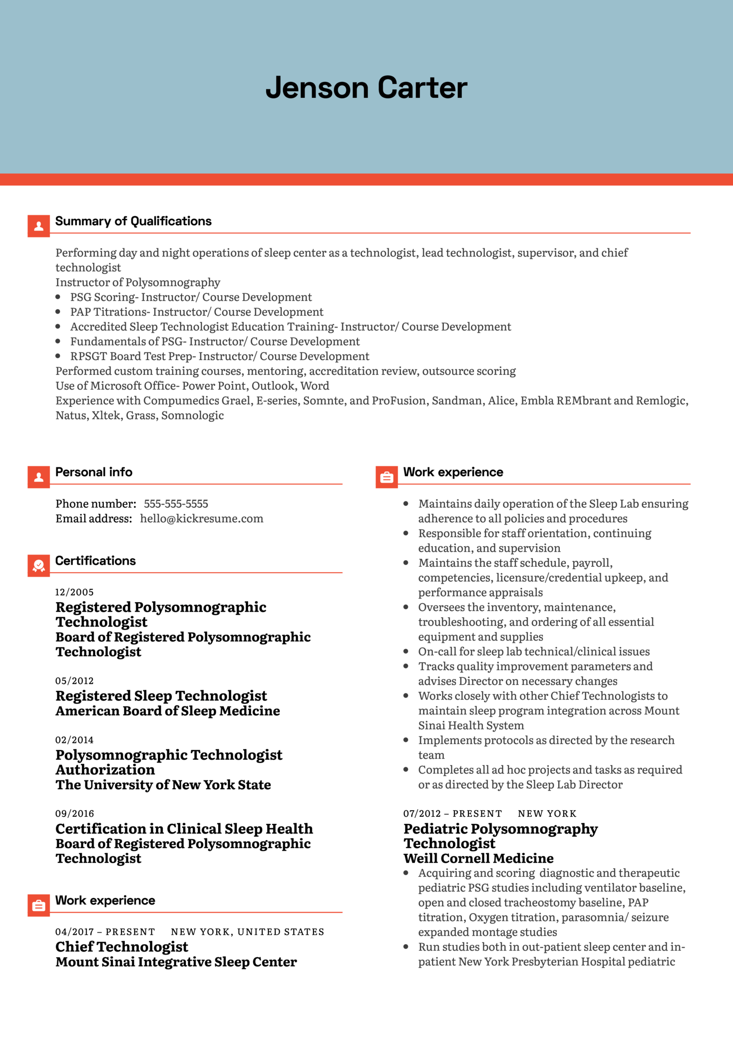 Mount Sinai Hospital Sleep Study Director Resume Example (Parte 1)