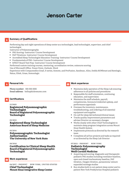 Mount Sinai Hospital Sleep Study Director Resume Example