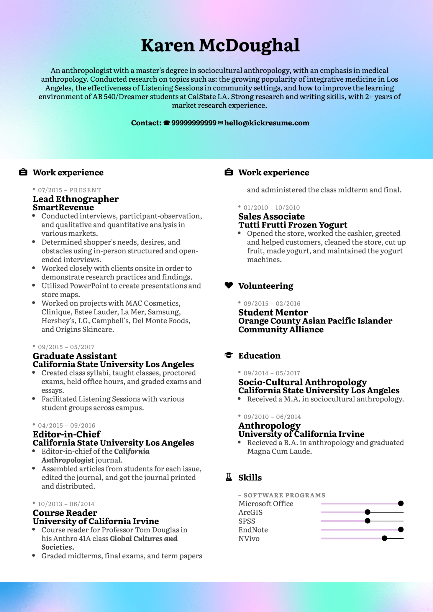Resume Examples by Real People: Ethnography resume sample | Kickresume