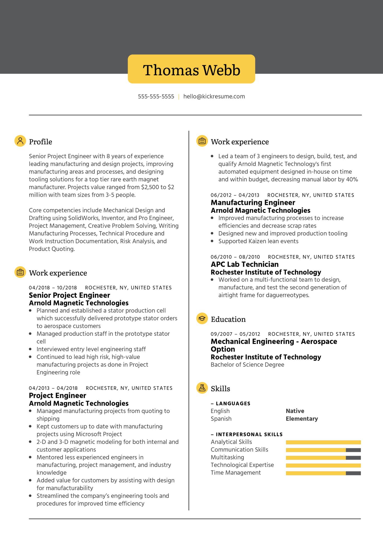 XometrySr Project Engineer Resume Example