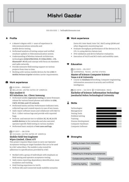 Samsung SQA Analyst Resume Example