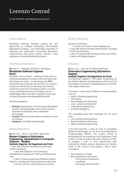 Nau21 Software Engineer Resume Example