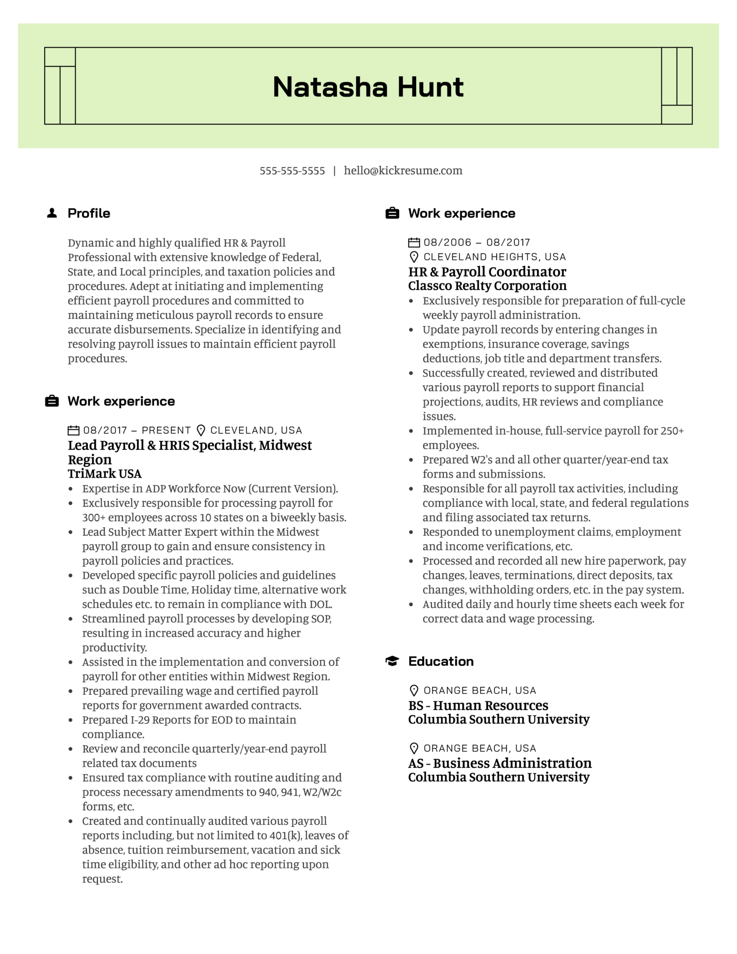TriMark Payroll Lead Resume Example (parte 1)