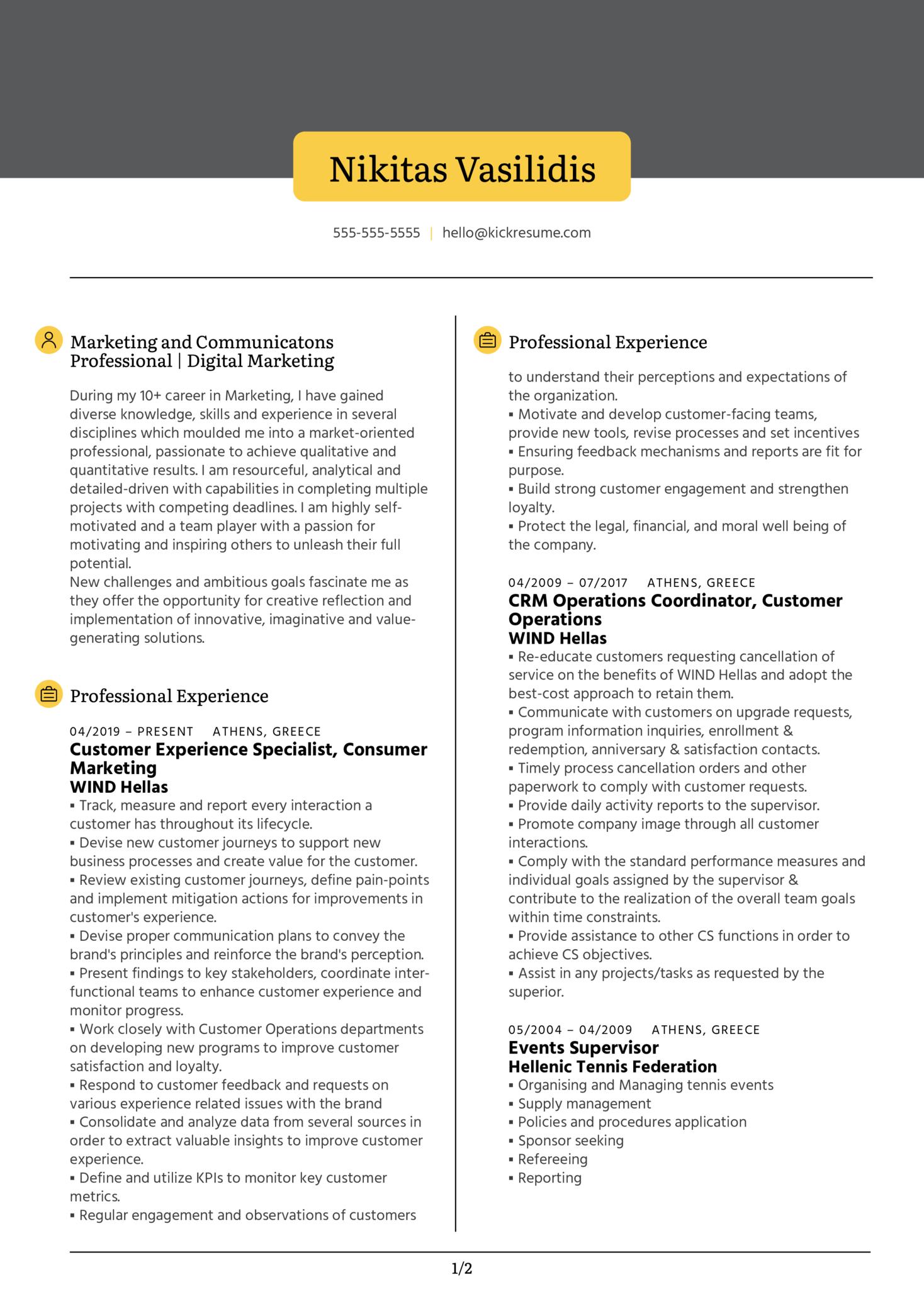 Digital Marketer Resume Example (Part 1)