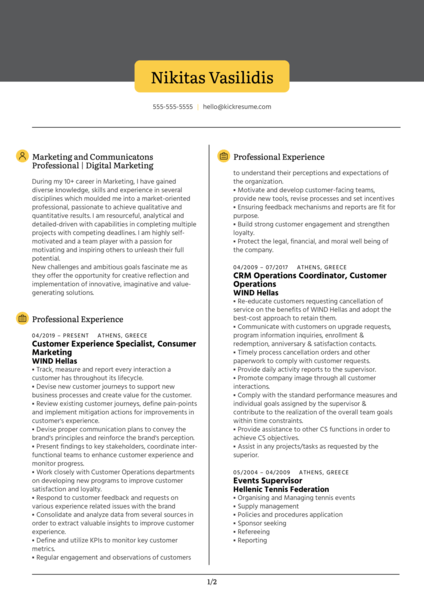 Digital Marketer Resume Example