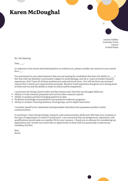 Research Associate Cover Letter Template