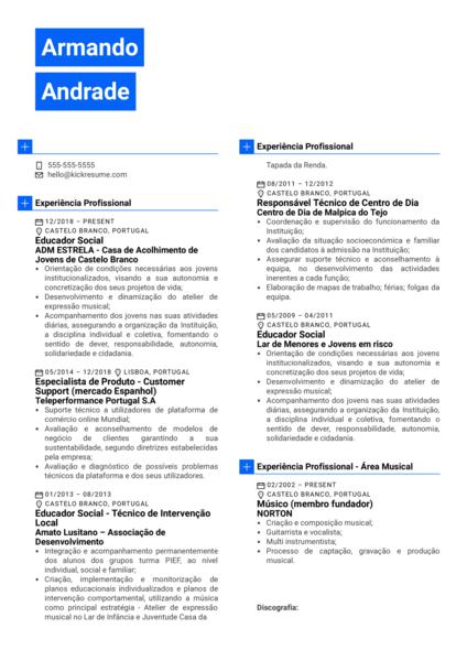 Social Educator Resume Example [ES]