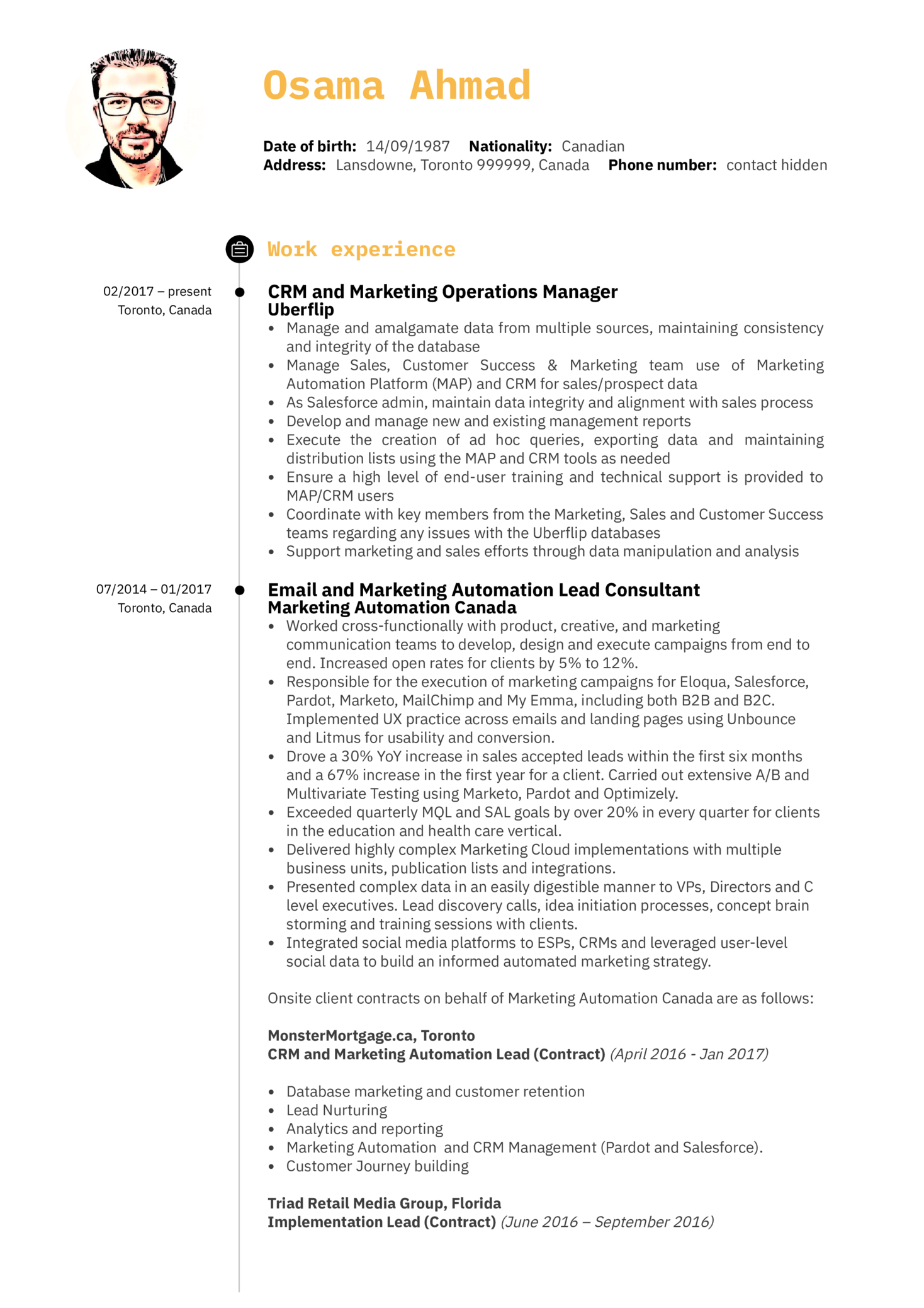 Marketing Operations Manager Resume Example