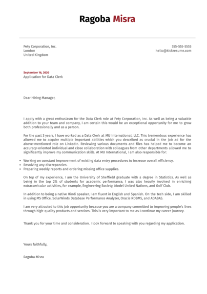 Data Clerk Cover Letter Example