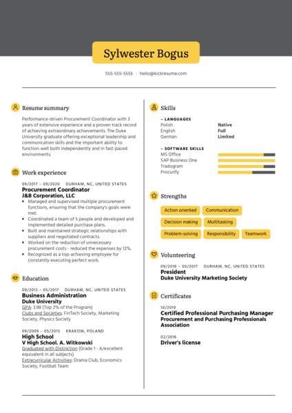 Procurement Coordinator Resume Example