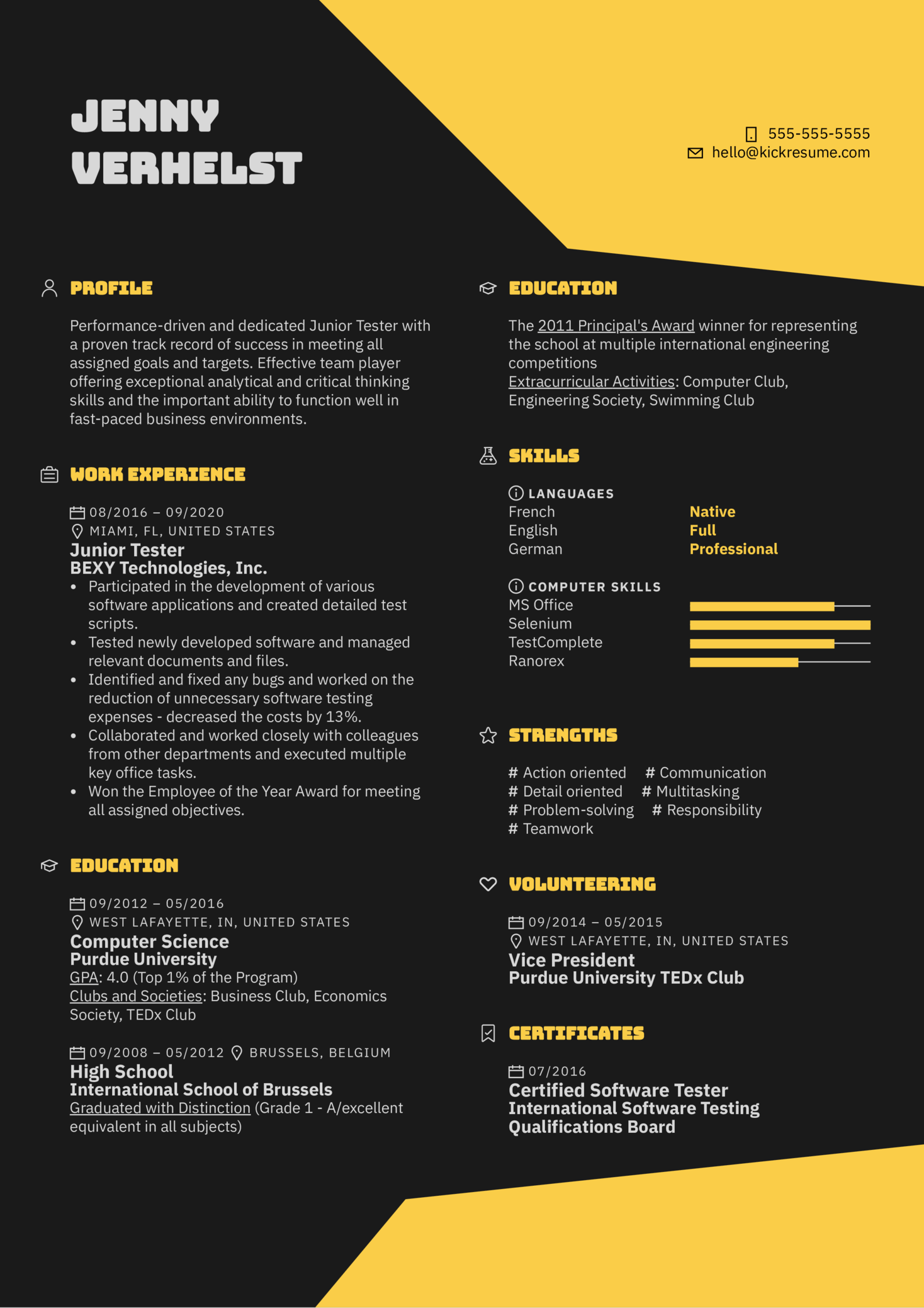 Junior Tester Resume Sample