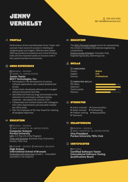 Junior Tester Resume Sample