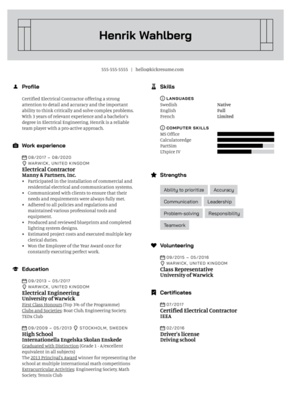 Electrical Contractor Resume Example