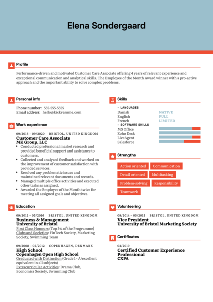 Customer Care Associate Resume Example