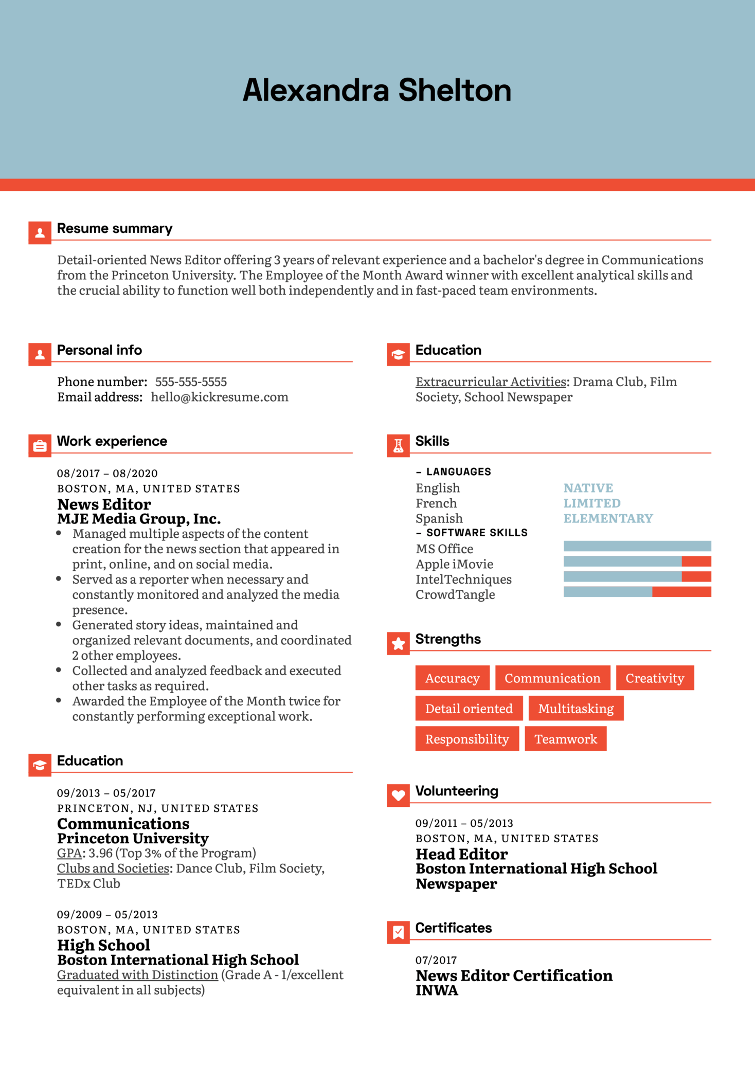 News Editor Resume Example