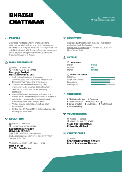 Mortgage Analyst Resume Example