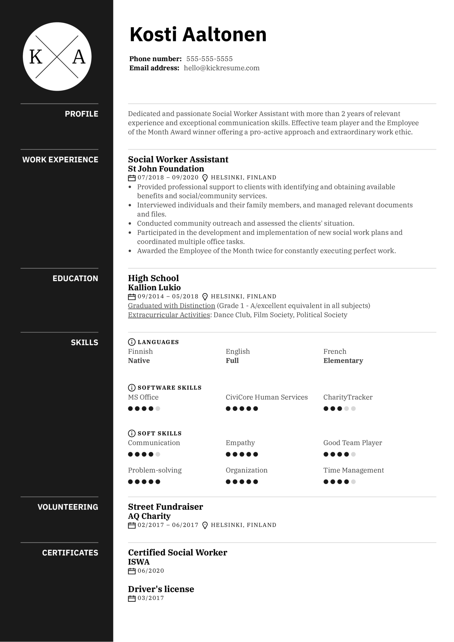 Social Worker Assistant Resume Example