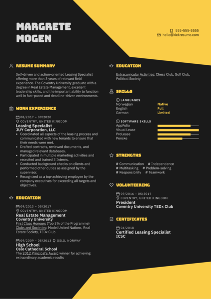 Leasing Specialist Resume Sample