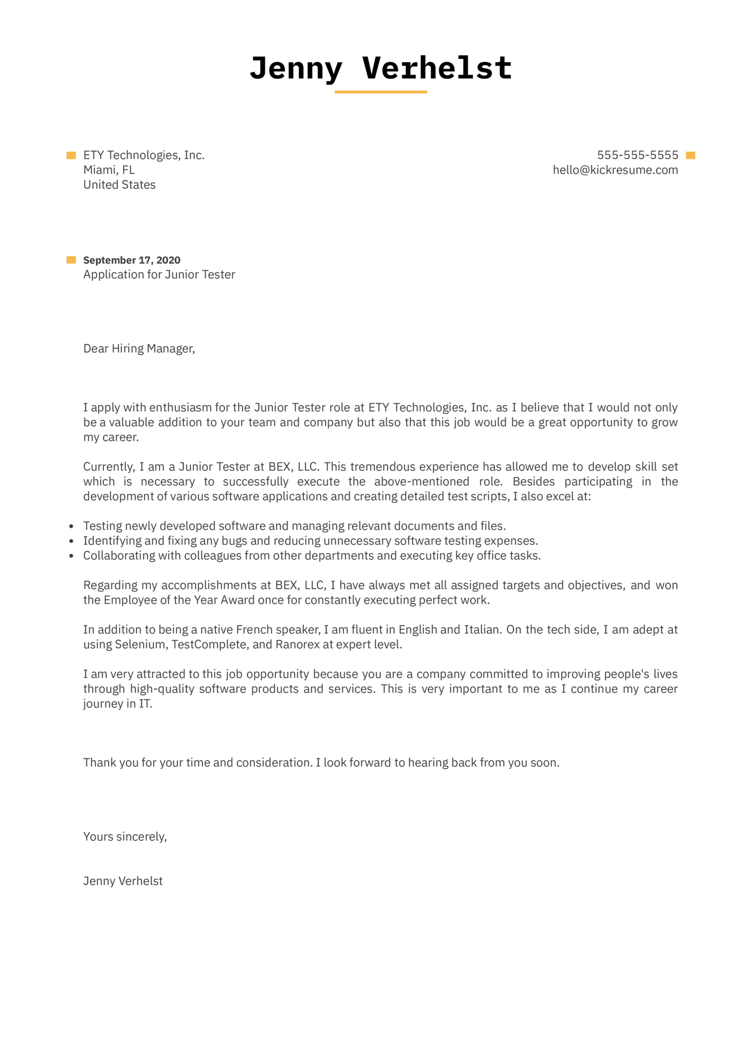 Junior Tester Cover Letter Example
