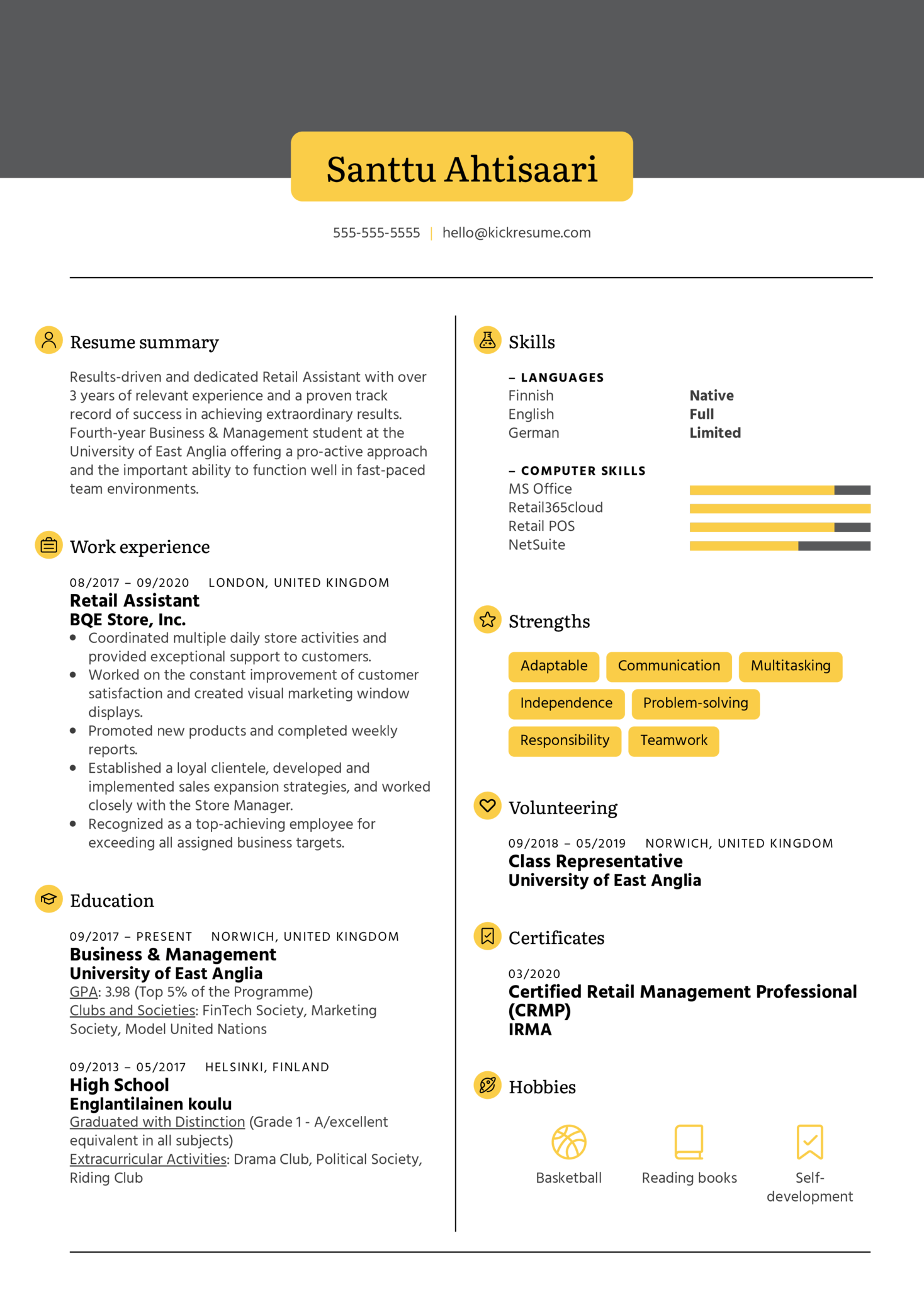 Retail Assistant Resume Example