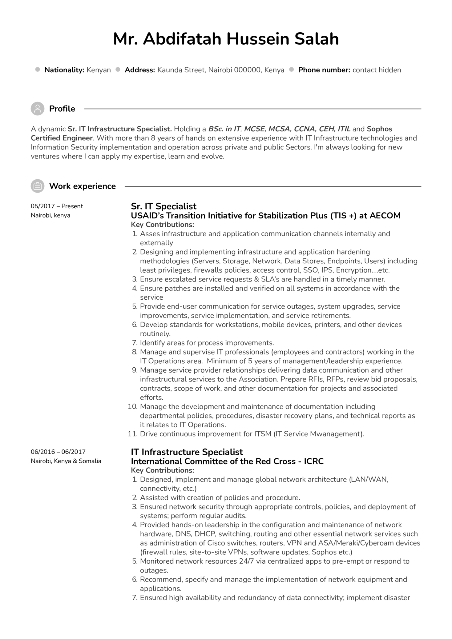 Resume Examples By Real People It Project Manager Resume Example