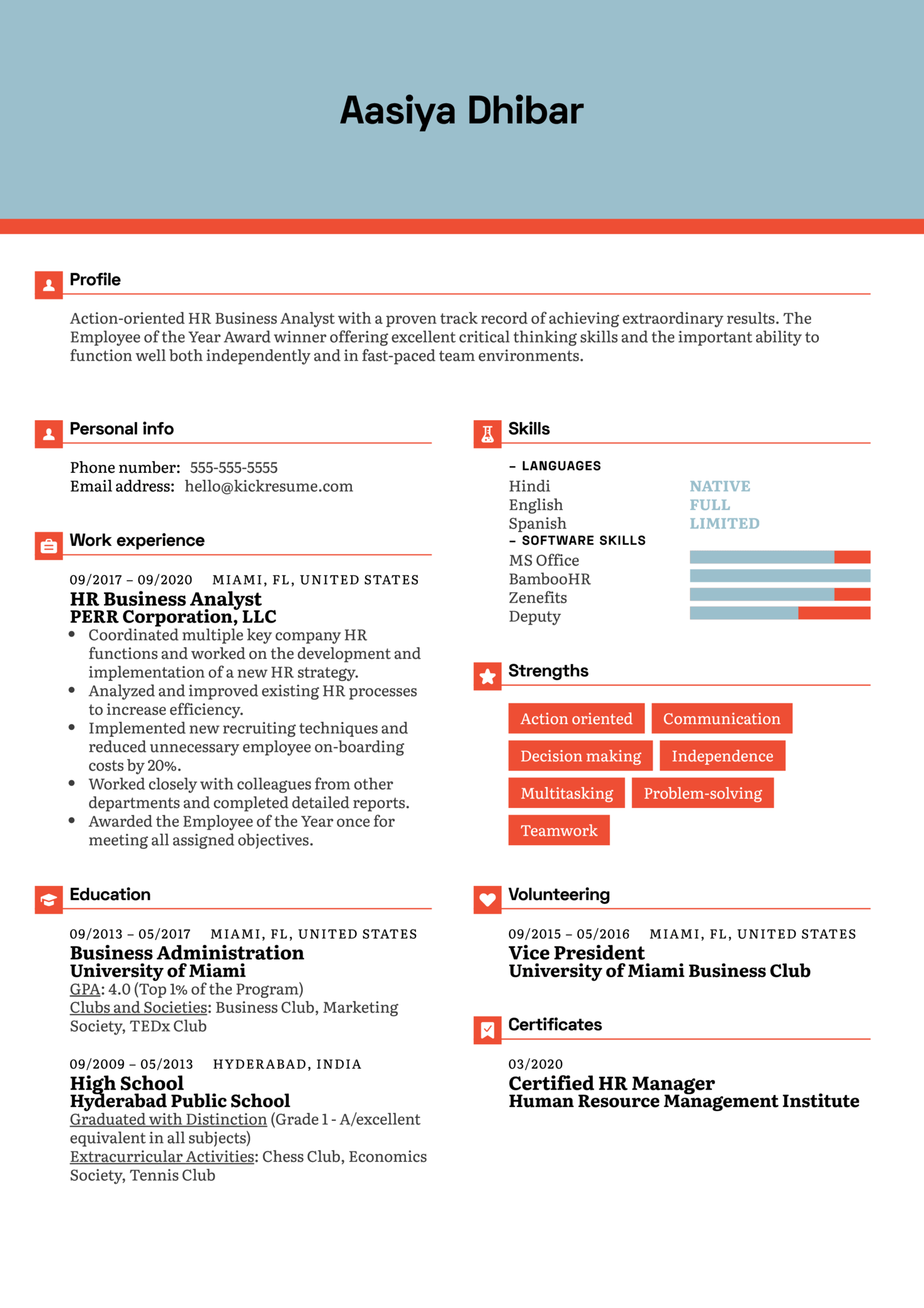 HR Business Analyst Resume Example