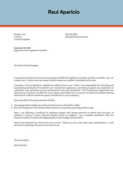 Appliance Installer Cover Letter Example