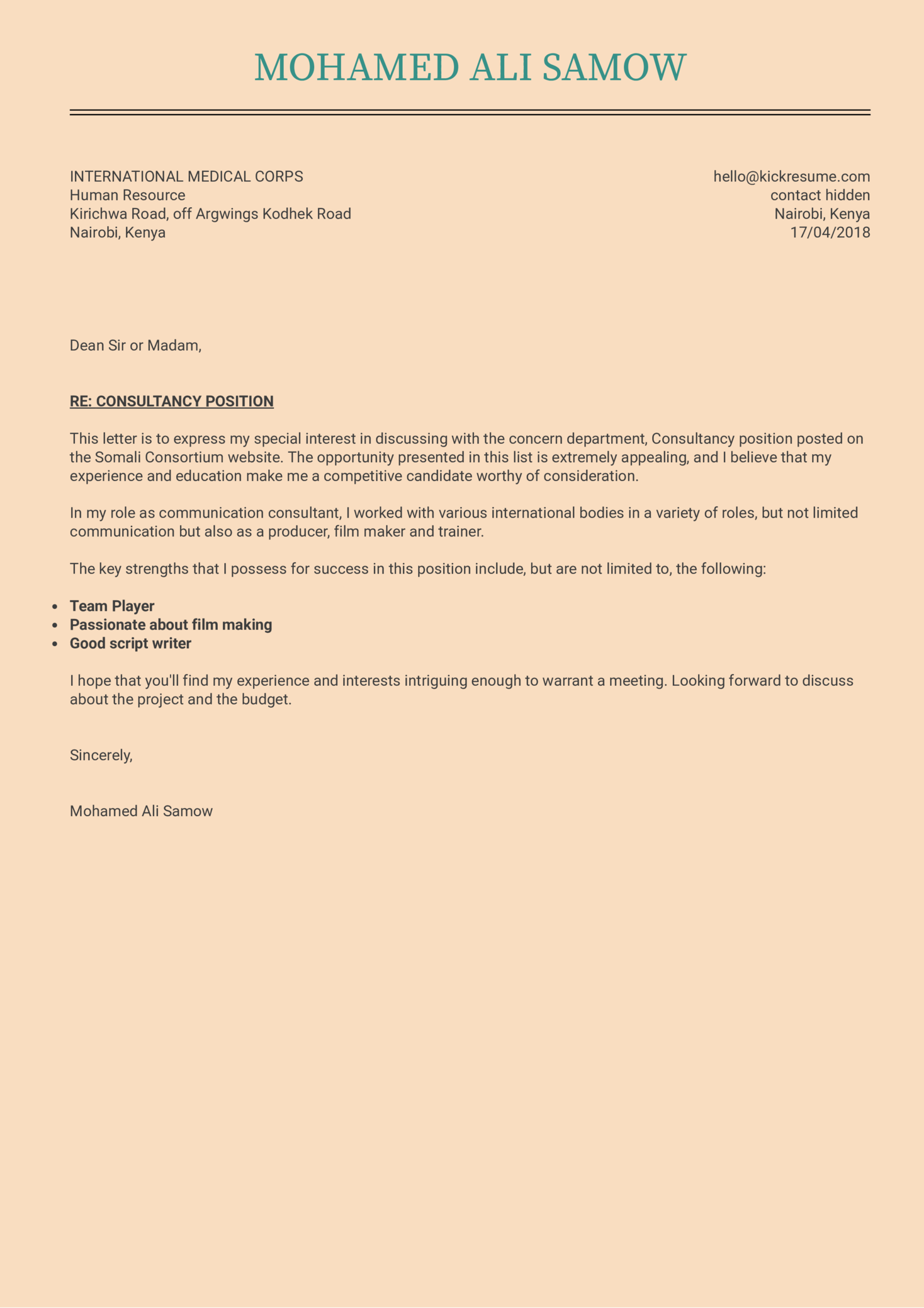 Cover Letter Examples by Real People: IT project manager ...
