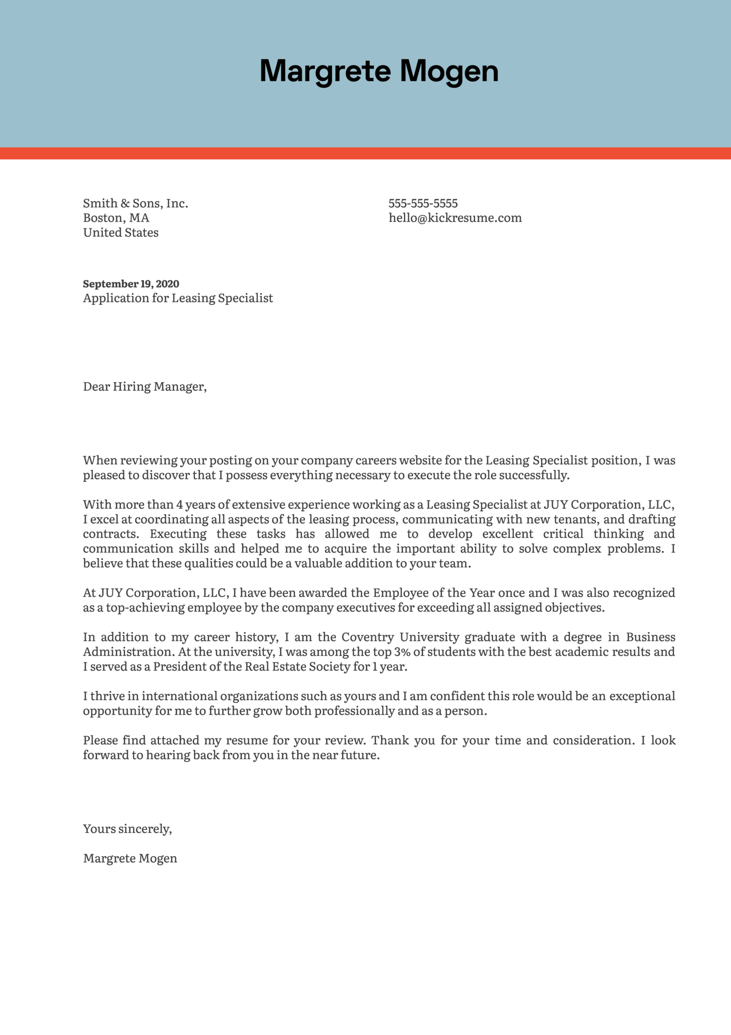 Leasing Specialist Cover Letter Example