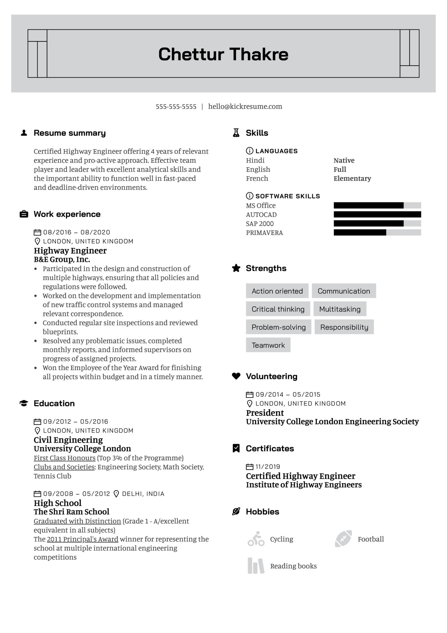 Highway Engineer Resume Example