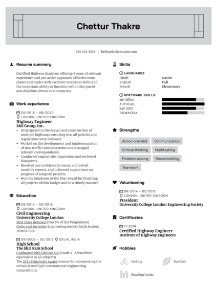 Highway Engineer Resume Example