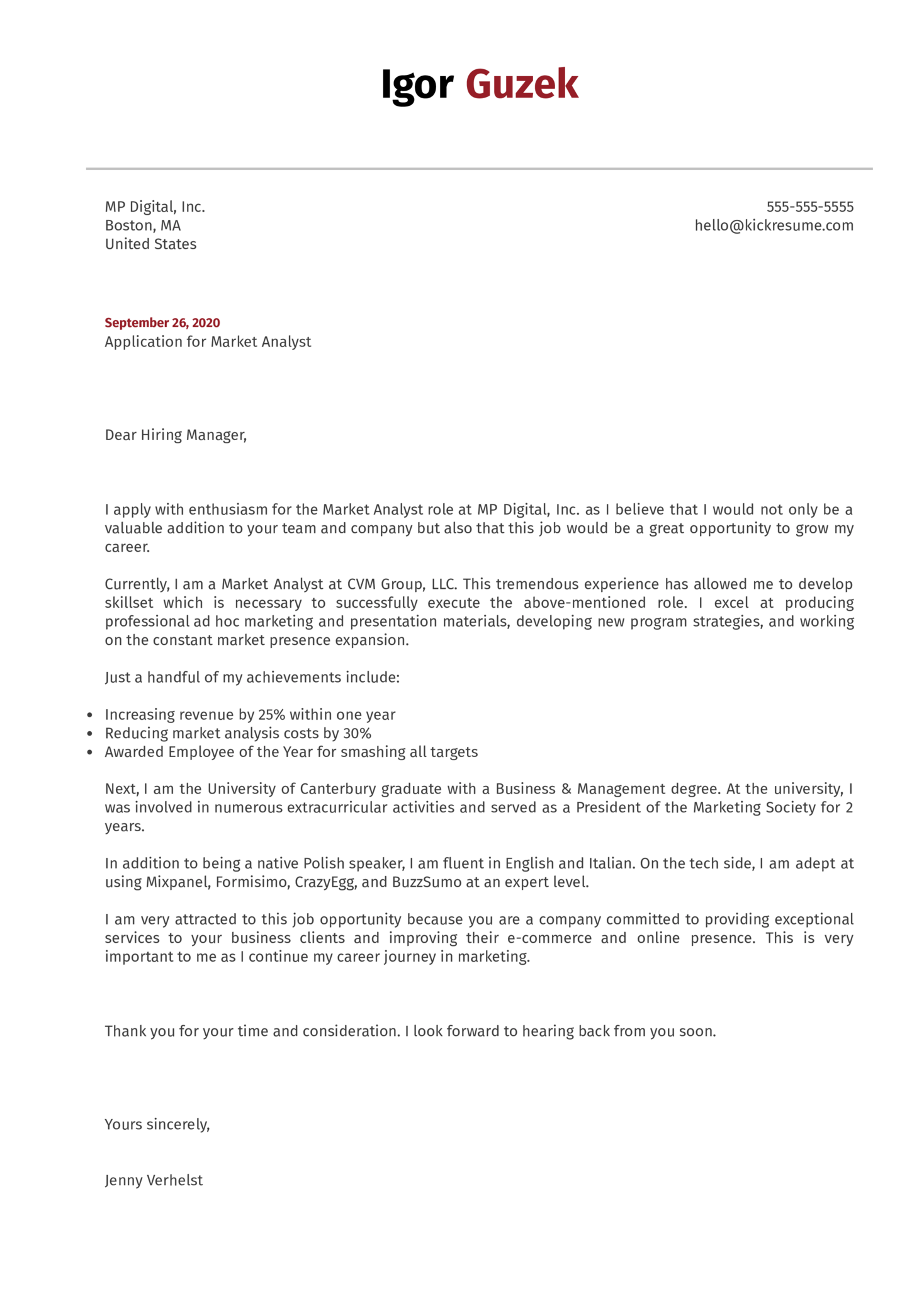 Market Analyst Cover Letter Example