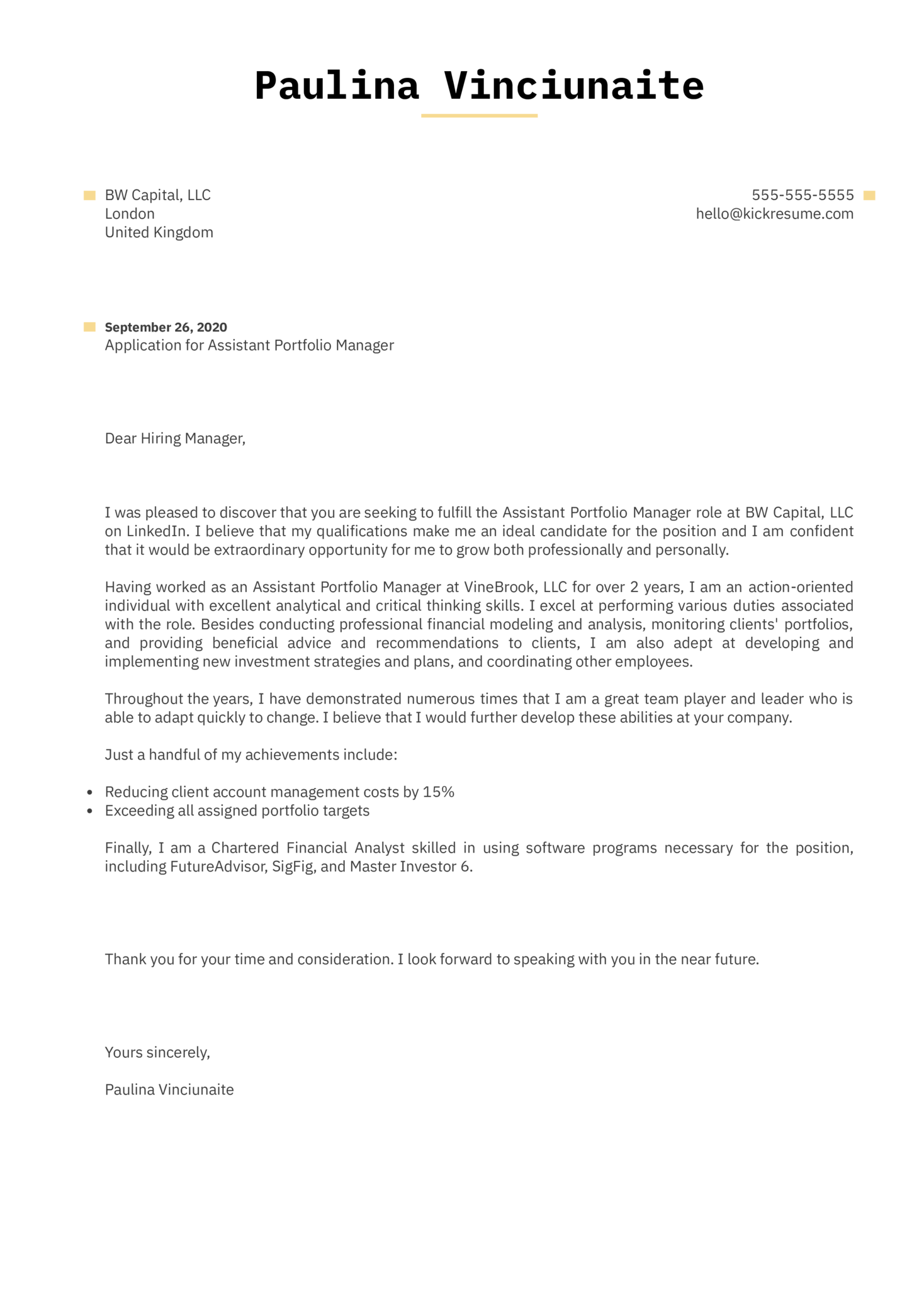 Assistant Portfolio Manager Cover Letter Example