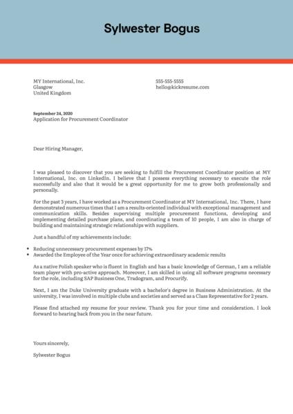 Procurement Coordinator Cover Letter Sample