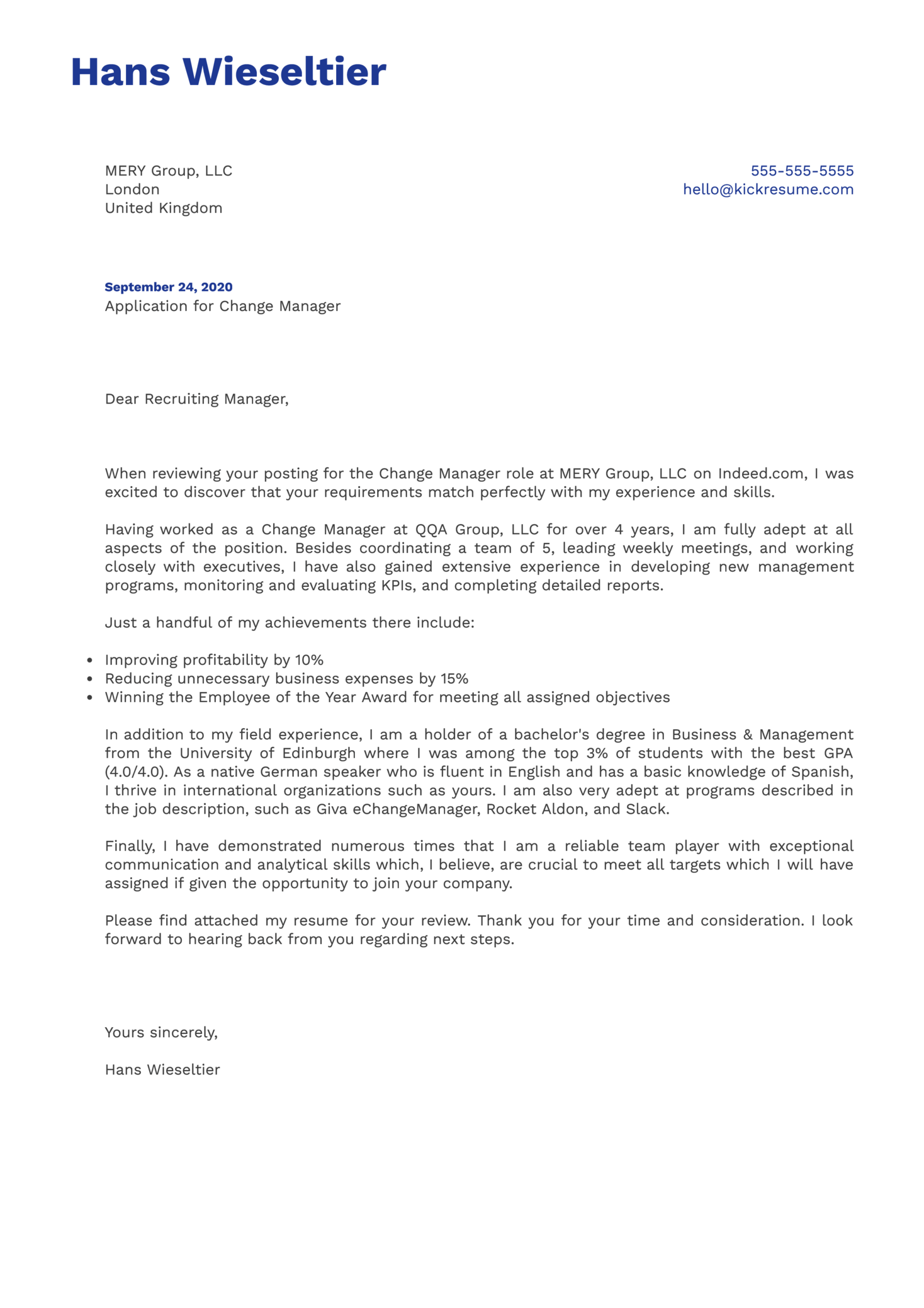 Change Manager Cover Letter Example